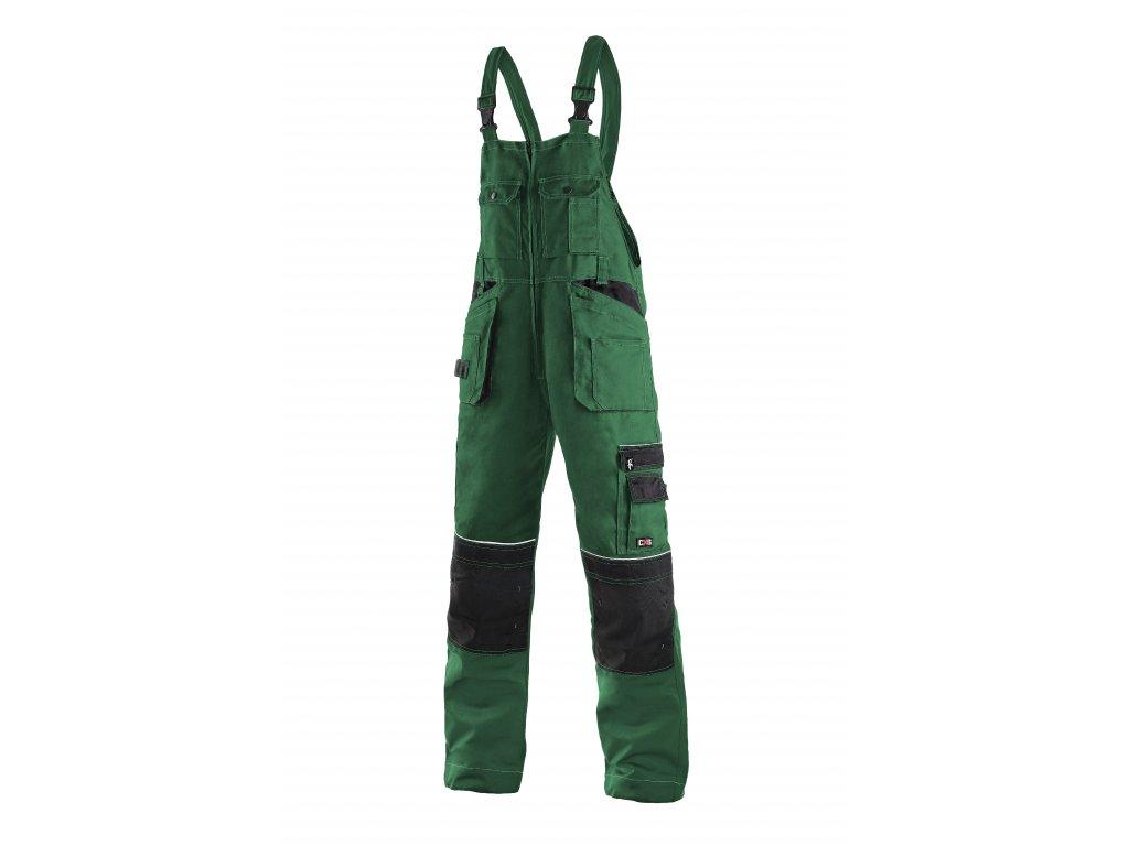 ORION KRYŠTOF montérkové kalhoty s náprsenkou  zeleno-černé (Velikost/varianta 58)