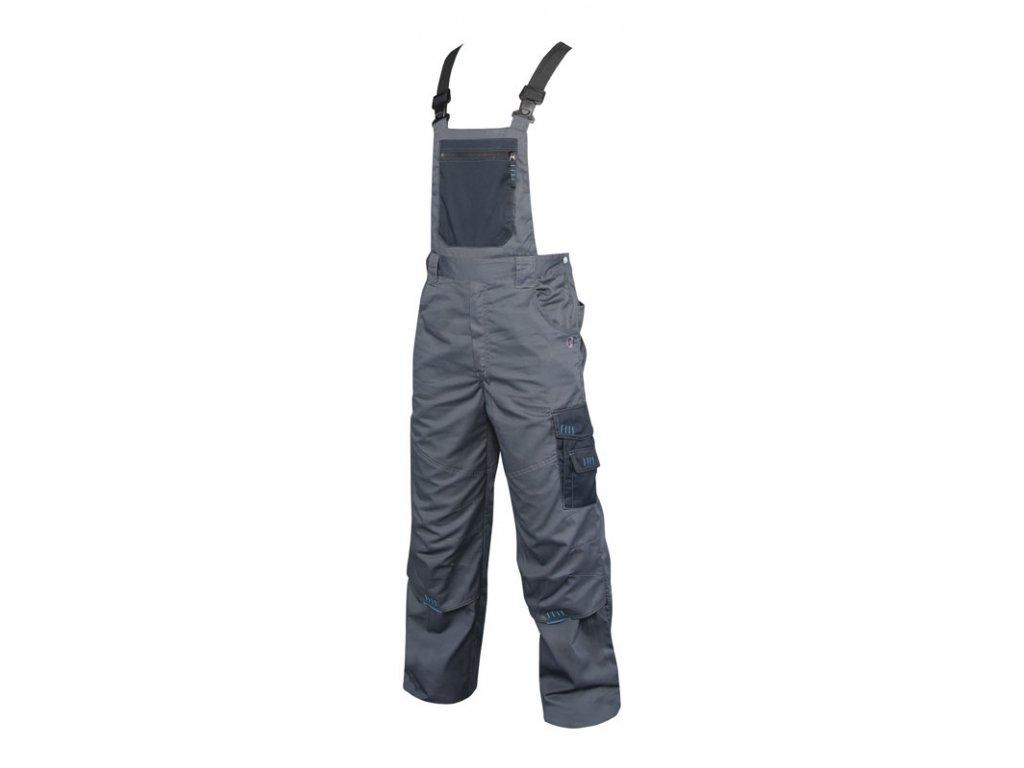 4TECH 03 montérkové kalhoty s náprsenkou šedo-černé (Velikost/varianta 64)