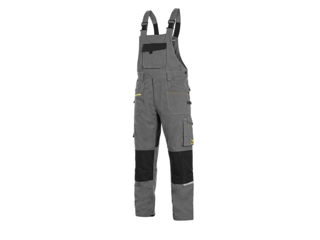 Canis CXS STRETCH monterkové kalhoty s náprsenkou šedo-černé (Velikost/varianta 64)