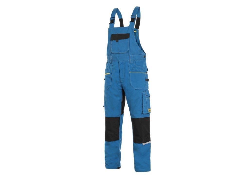 Canis CXS STRETCH monterkové kalhoty s náprsenkou středně modro-černá (Velikost/varianta 64)