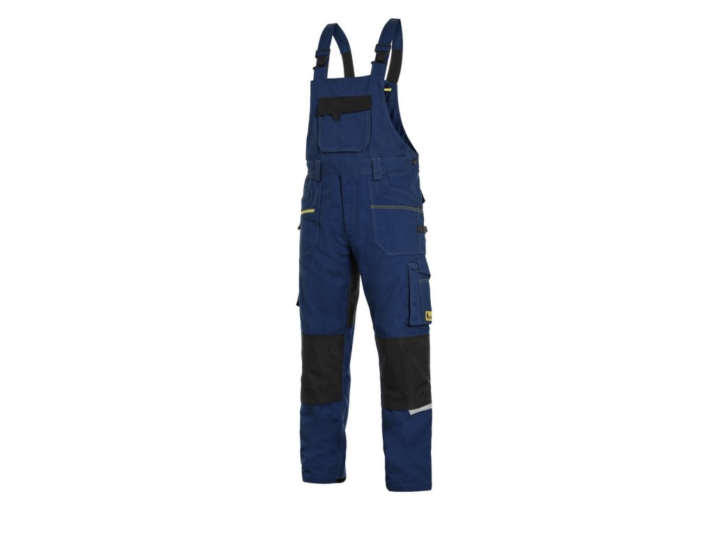 Canis CXS STRETCH monterkové kalhoty s náprsenkou tmavě modro-černá (Velikost/varianta 64)