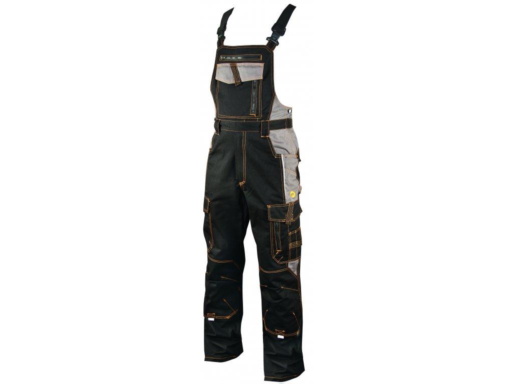 VISION O3 pracovní kalhoty monterkové s laclem černé (Velikost/varianta 64)