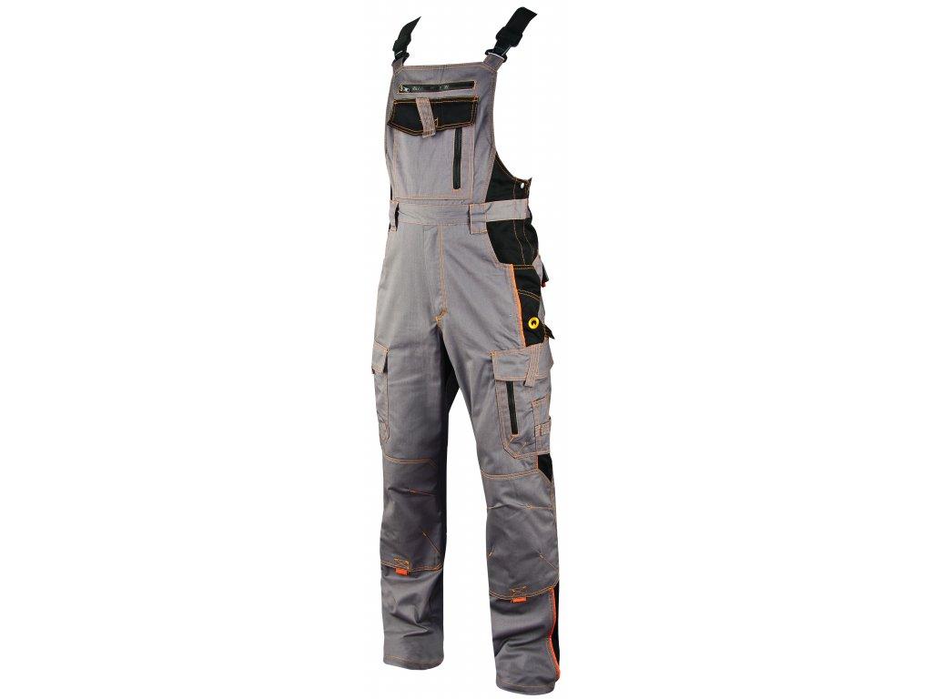 VISION O3 pracovní kalhoty monterkové s laclem šedé (Velikost/varianta 64)