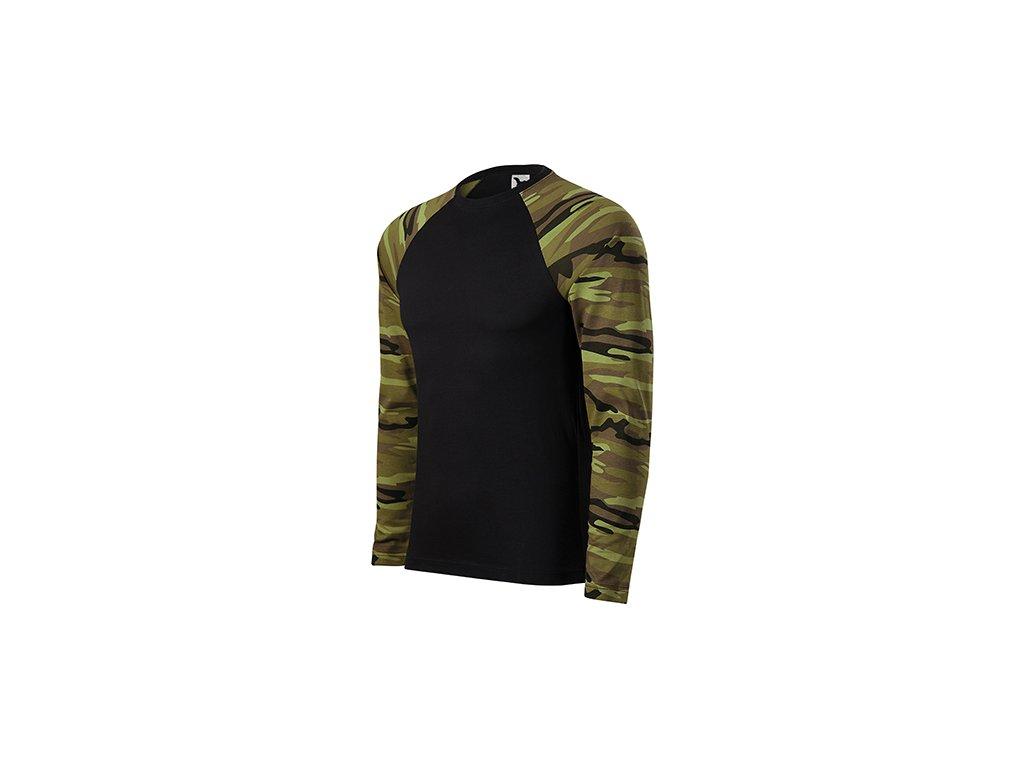 Camouflage LS triko unisex camouflage green