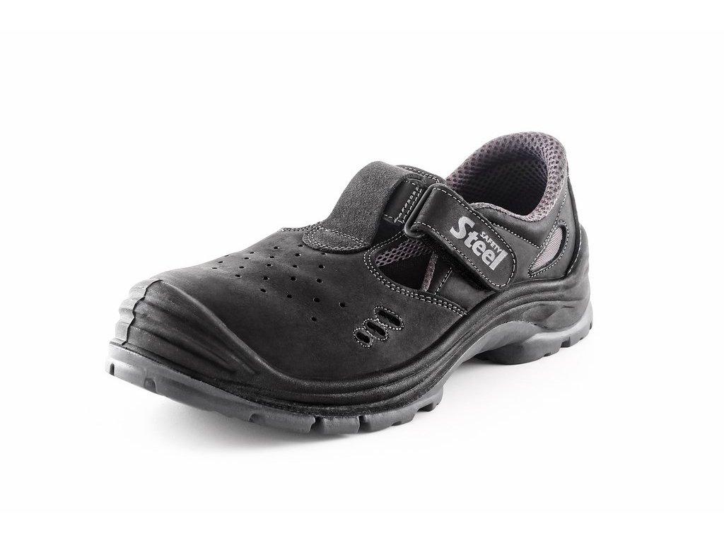 SAFETY STEEL COPPER O1 pracovní sandál celokožený černý (Velikost/varianta 48)