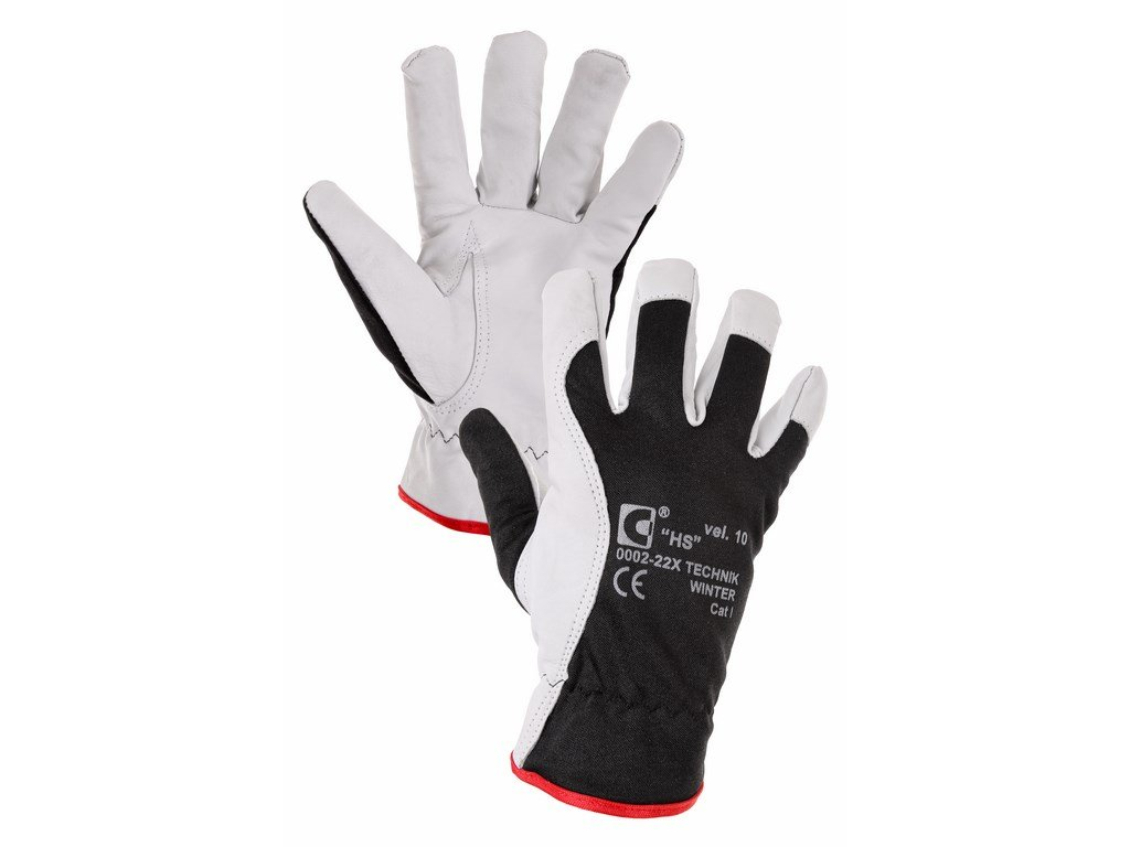 TECHNIK PLUS rukavice kozinková lícovka černá (Velikost/varianta 10)
