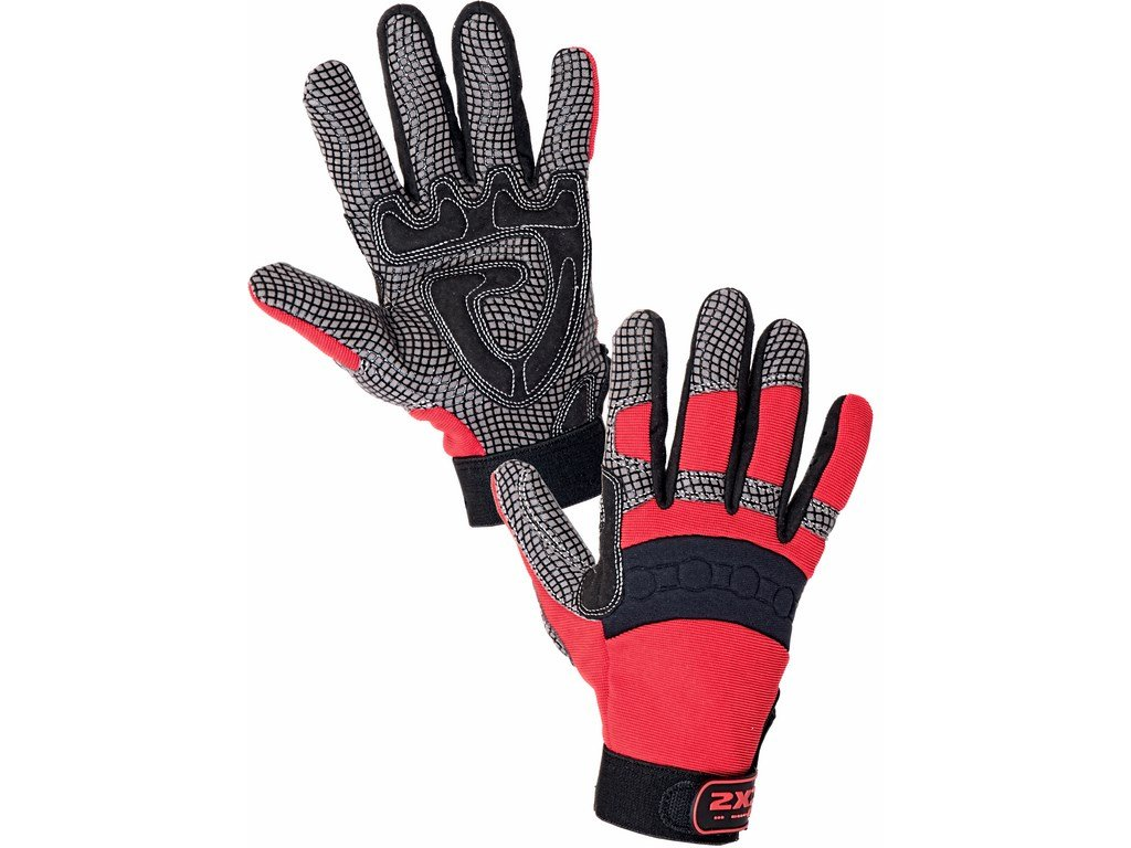 Canis CXS SHARK rukavice syntet.kůže ve dlani červená (Velikost/varianta 11)
