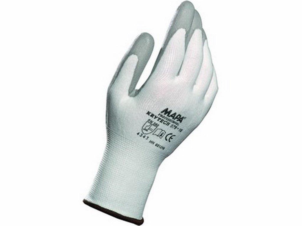 KRYTECH rukavice povrstveny polyuretanem bílá (Velikost/varianta 10)