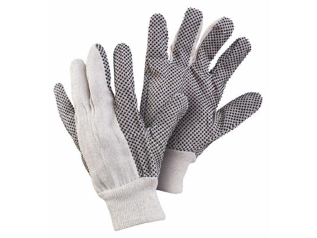GABO rukavice s PVC terčíky vel.10 bílá-černá (Velikost/varianta 10)