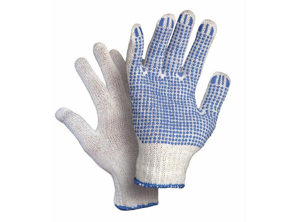 Canis CXS FALO rukavice textilní PVC terčíky bílá-modrá (Velikost/varianta 10)