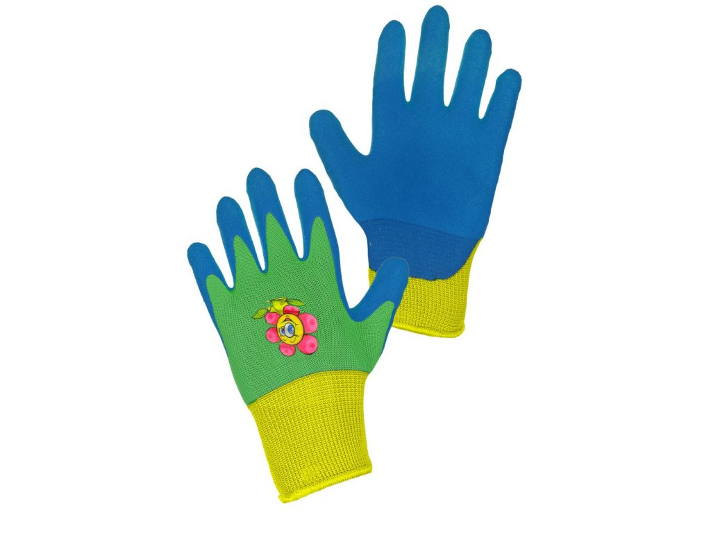 DRAGO rukavice dětské povrstvené nitrilem modro-zelené (Velikost/varianta 07)