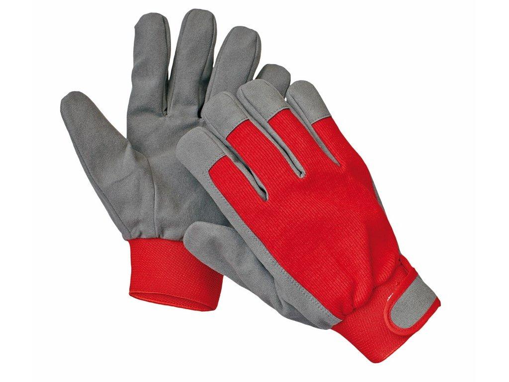 THRUSH rukavice z umělé kůže a bavlny vel.10 červená (Velikost/varianta 10)
