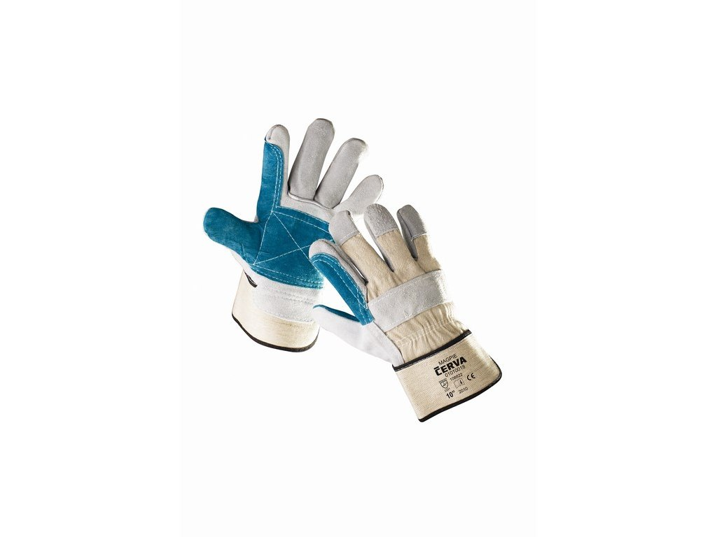 MAGPIE rukavice hov. štípenka/tkanina zesílené dlaně šedé (Velikost/varianta 10)