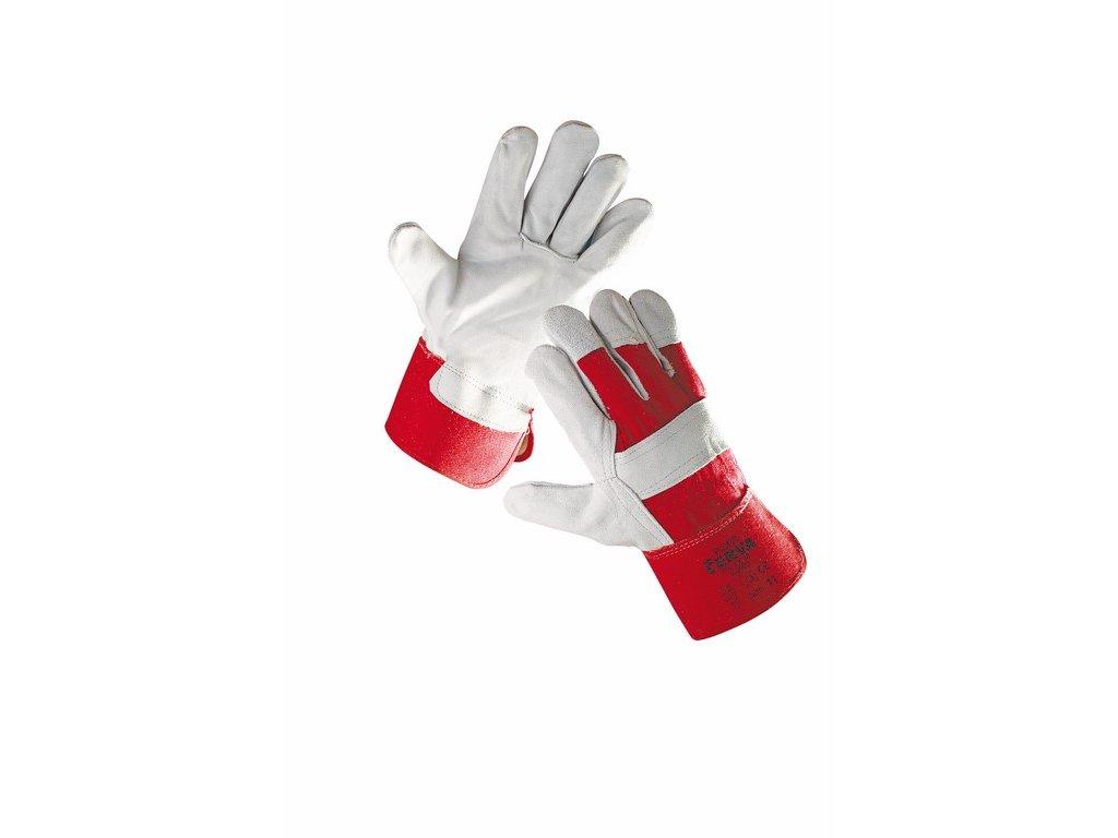 EIDER rukavice ze silné hov. štípenky vyztužené dlaně a prsty  červeno-šedá (Velikost/varianta 12)