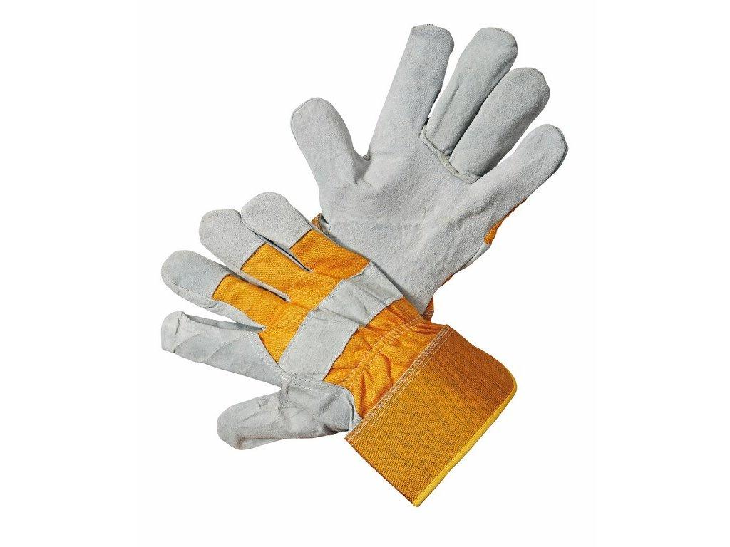 HS-01-002 rukavice hovězí lícovka s podšívkou v dlani vel.10 žluto-šedá (Velikost/varianta 10)