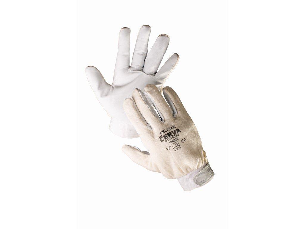 PELICAN rukavice z lícové kozinky a bavlny manžeta na suchý zip (Velikost/varianta 11)