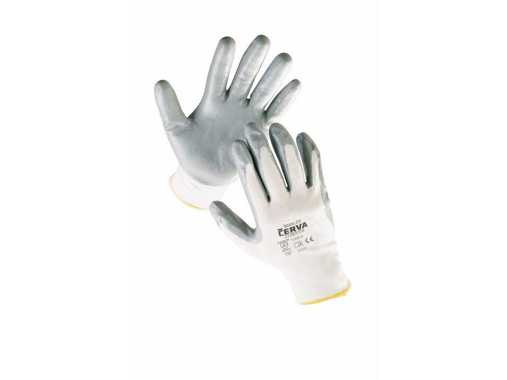 BABBLER rukavice nylon dlaně pěnový nitril bílo-šedá (Velikost/varianta 11)