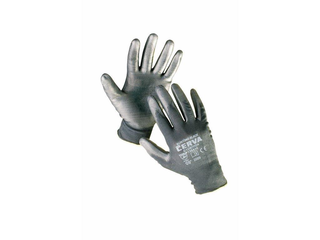 BUNTING BLACK rukavice nylon máčené v PU (Velikost/varianta 11)