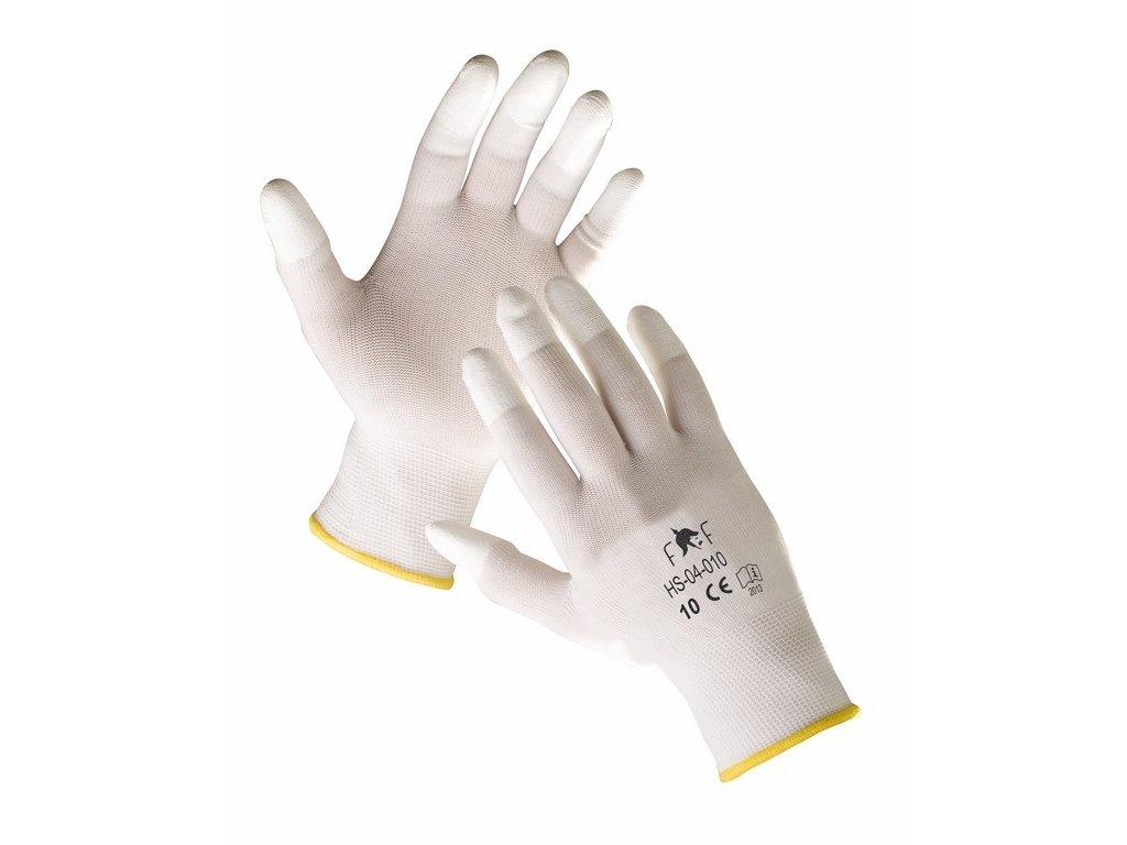LARK LIGHT HS-04-010 rukavice máčené prsty v PU bílá (Velikost/varianta 10)
