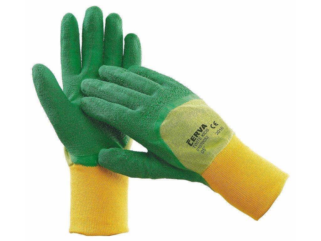 TWITE KIDS rukavice dětské z bavlny a latexu zelené (Velikost/varianta 05)