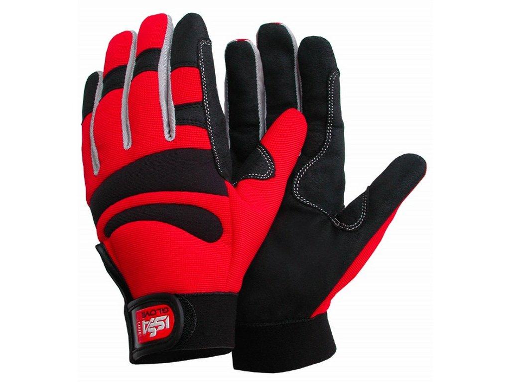LONG COMFORT rukavice synt. kůže/Spandex červené (Velikost/varianta 05)