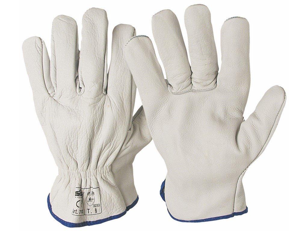 07140 SALERNO rukavice z lícové kůže bílé (Velikost/varianta 11)