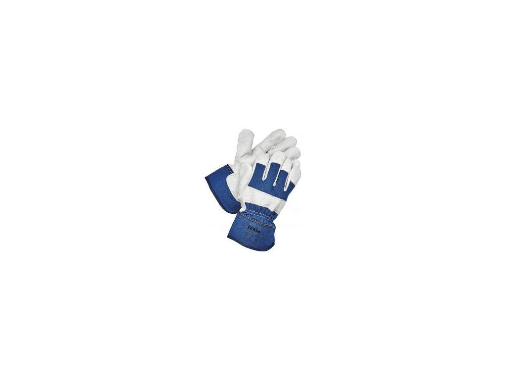 EIDER rukavice ze silné hov. štípenky vyztužené dlaně a prsty modrá-šedá (Velikost/varianta 09)