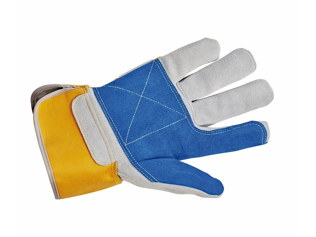 GRYLLE DOUBLE rukaviice kombinované žlutá-šedá-modrá (Velikost/varianta 10)