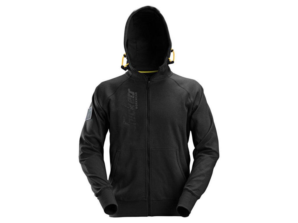 SNICKERS WORKWEAR mikina na zip s kapucí černá (Velikost/varianta 3XL)