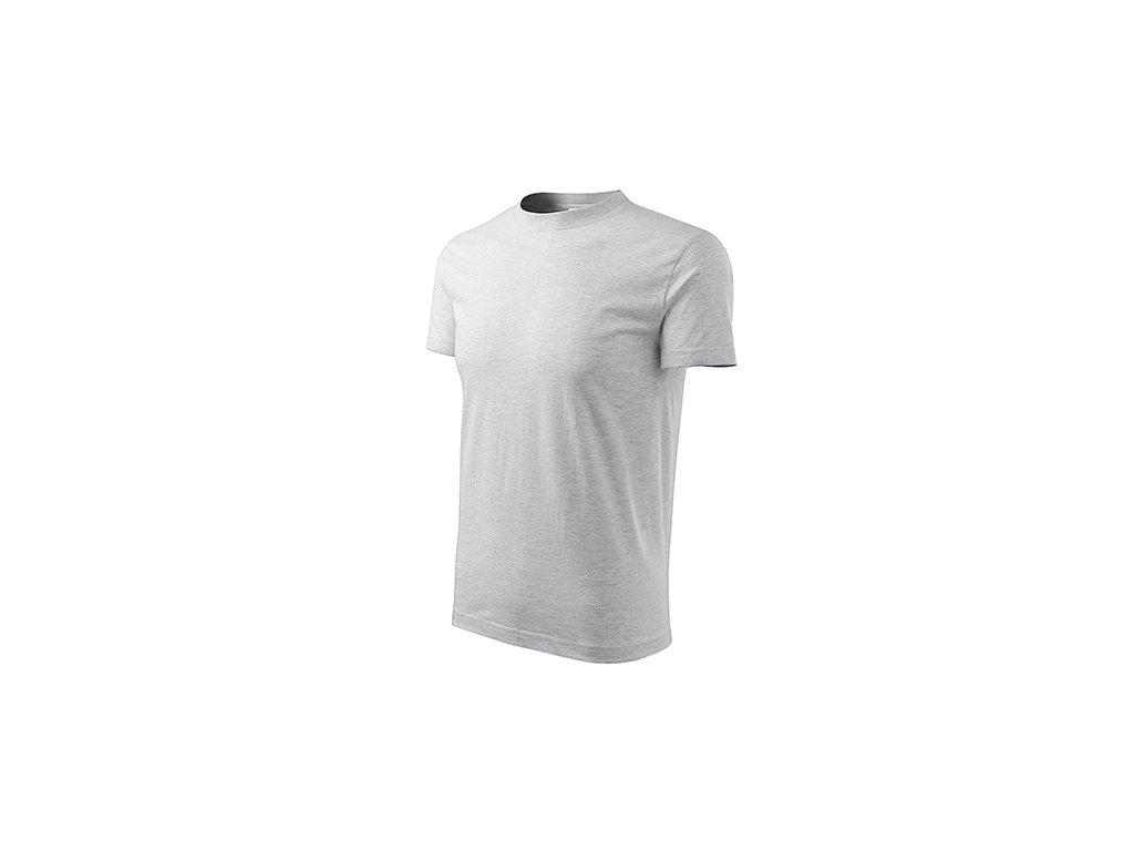 Classic tričko unisex světle šedý melír