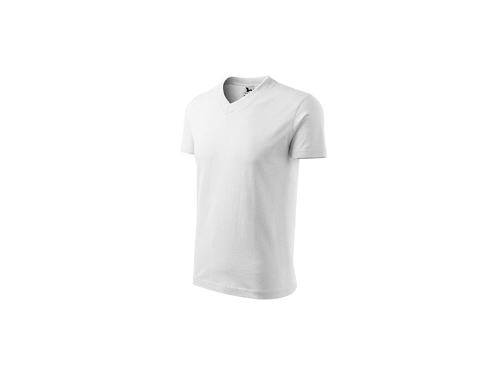 V-neck tričko unisex bílá