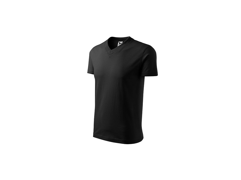 V-neck tričko unisex černá