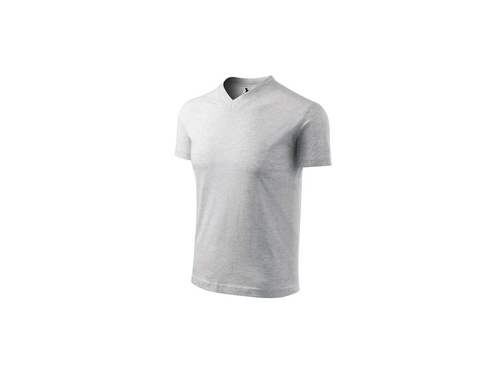 V-neck tričko unisex světle šedý melír