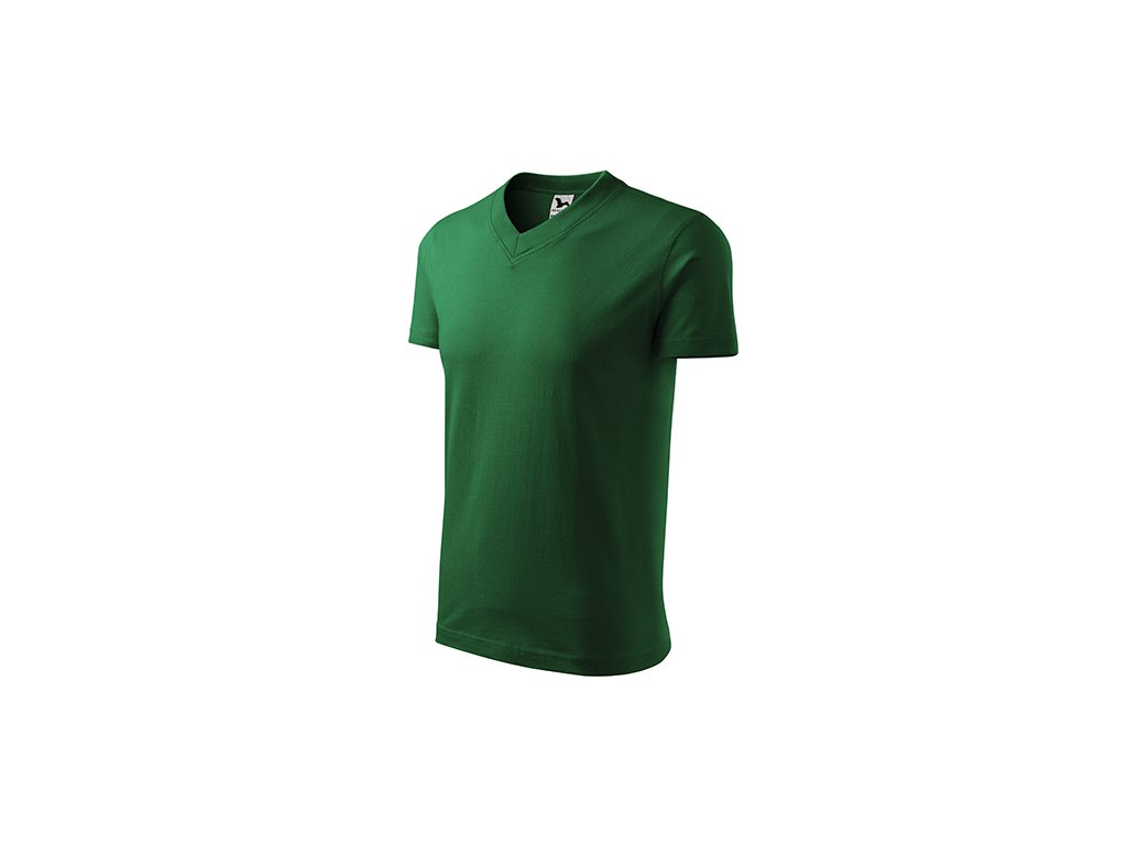 V-neck tričko unisex lahvově zelená