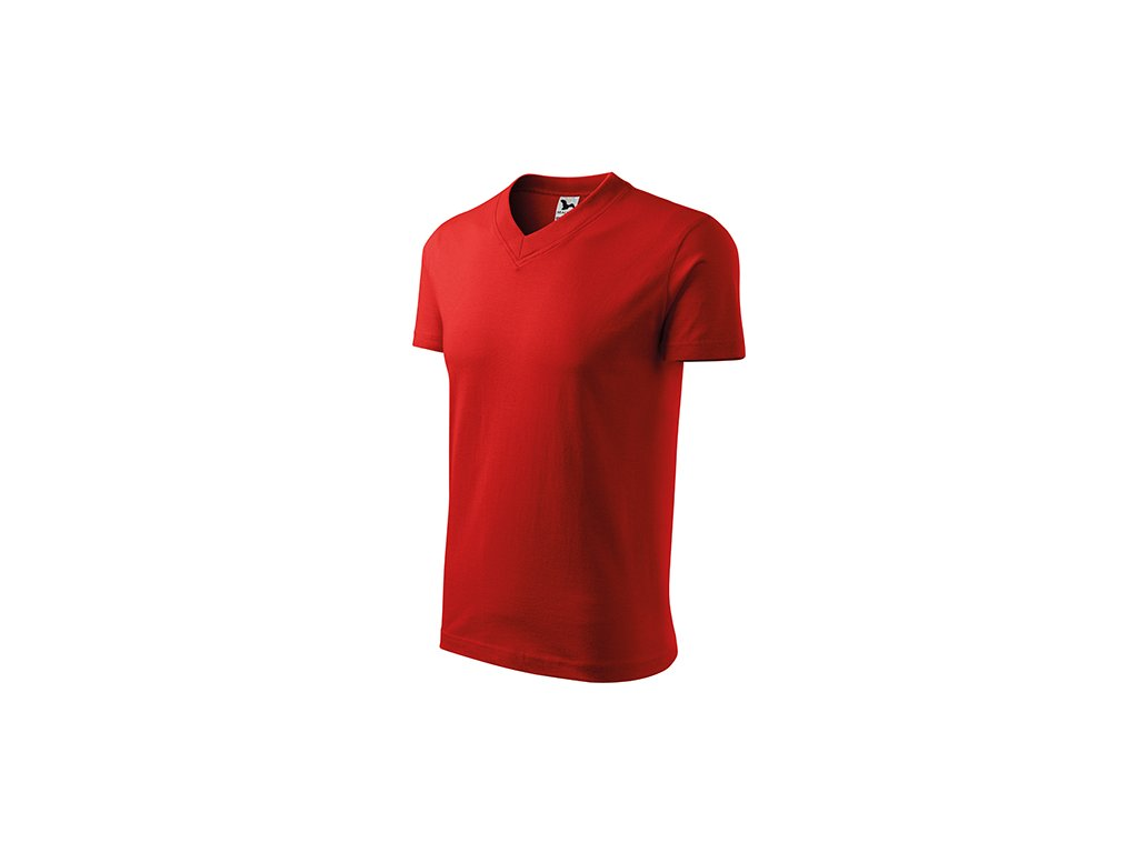 V-neck tričko unisex červená