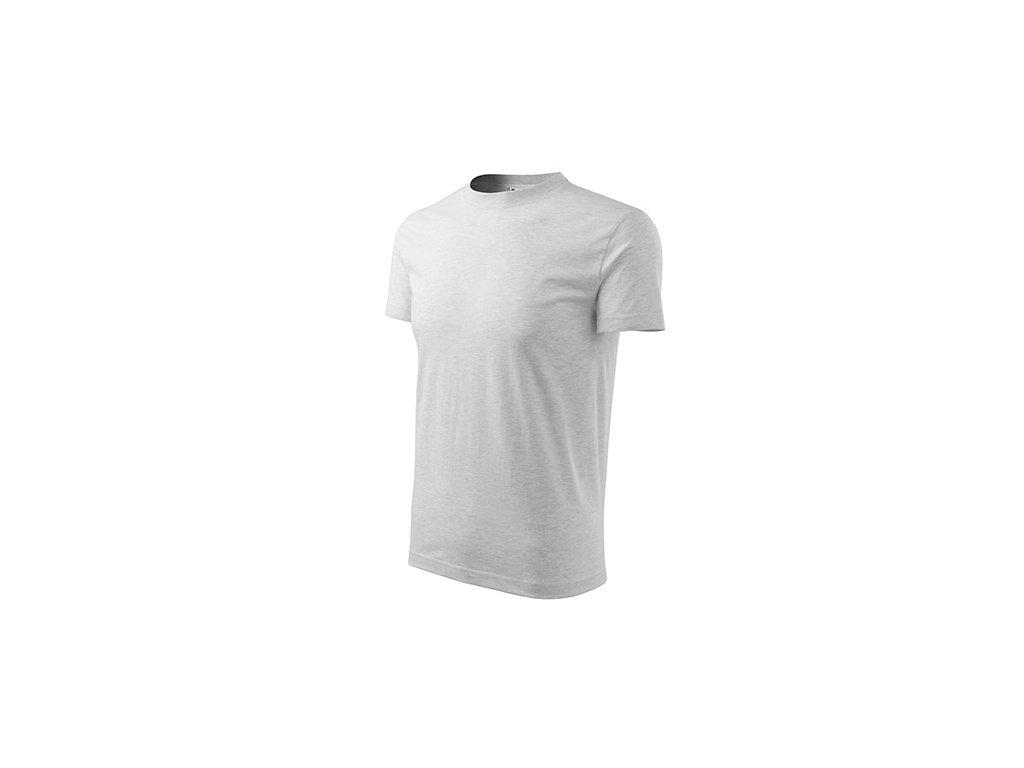Heavy tričko unisex světle šedý melír