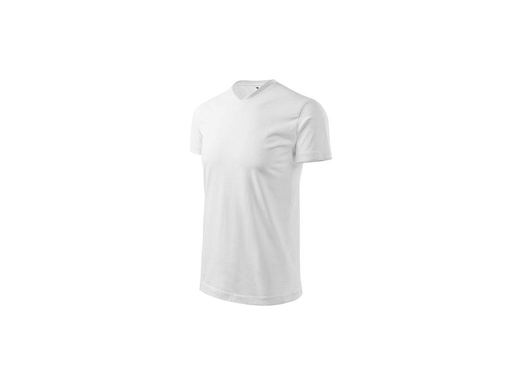 Heavy V-neck tričko unisex bílá