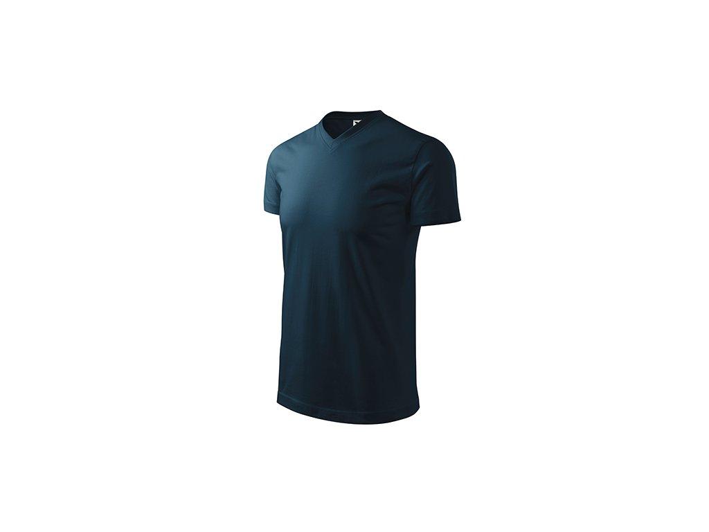 Heavy V-neck tričko unisex námořní modrá