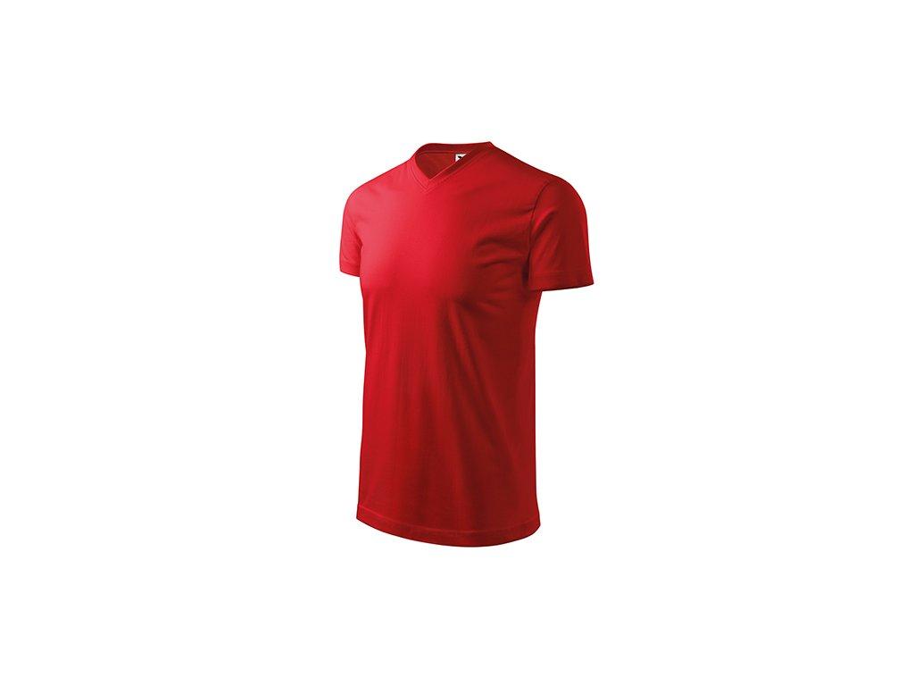 Heavy V-neck tričko unisex červená