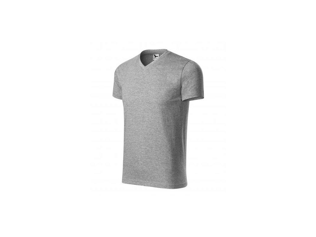 Heavy V-neck tričko unisex tmavě šedý melír
