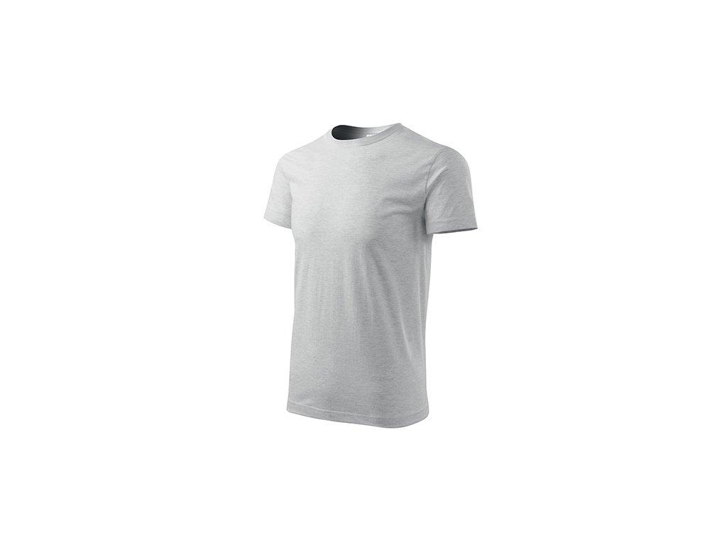 Basic tričko pánské světle šedý melír