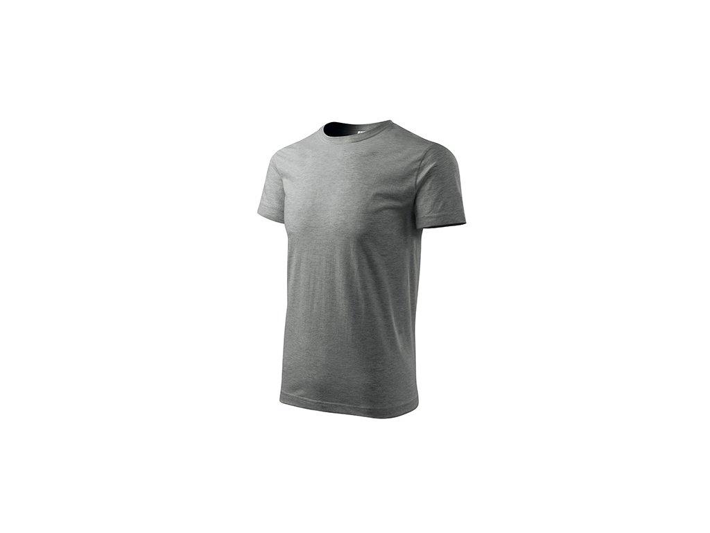 Basic tričko pánské tmavě šedý melír