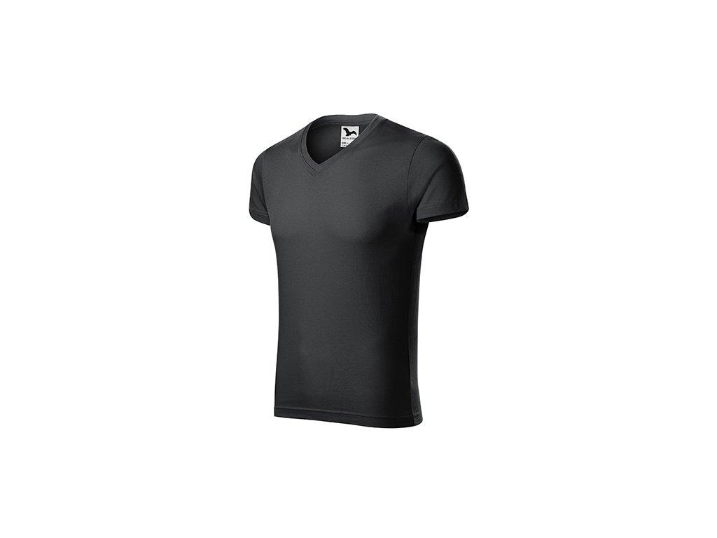 Slim Fit V-neck tričko pánské ebony gray