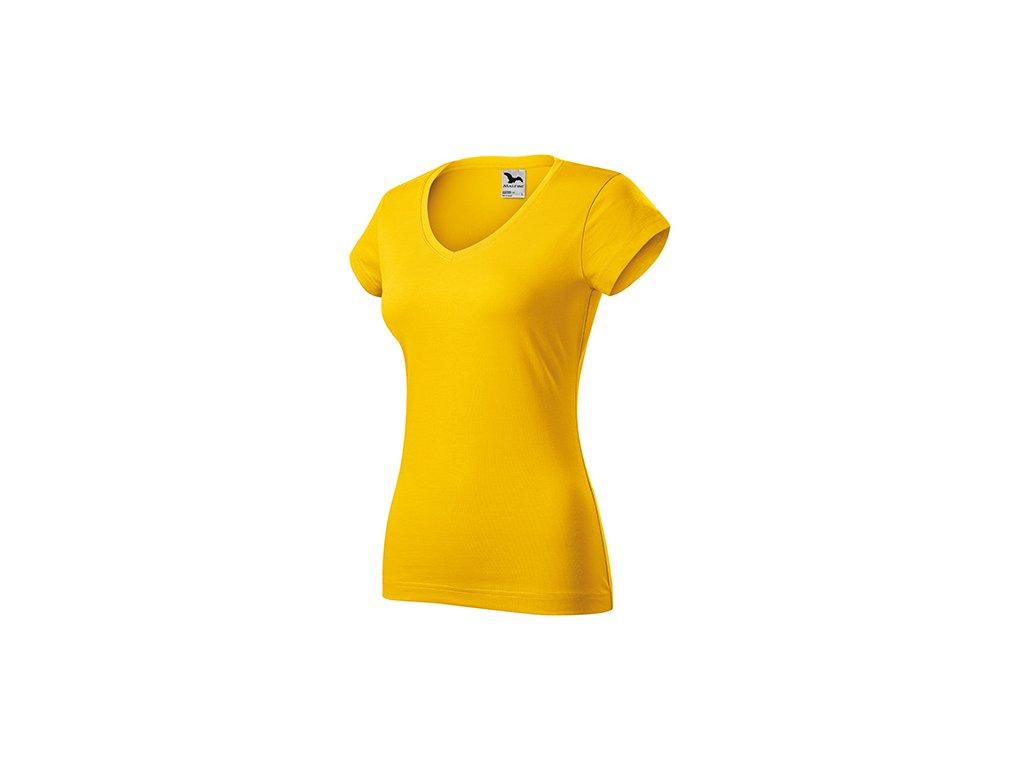 Fit V-neck tričko dámské žlutá