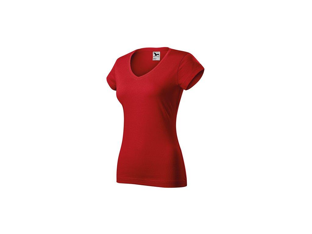 Fit V-neck tričko dámské červená