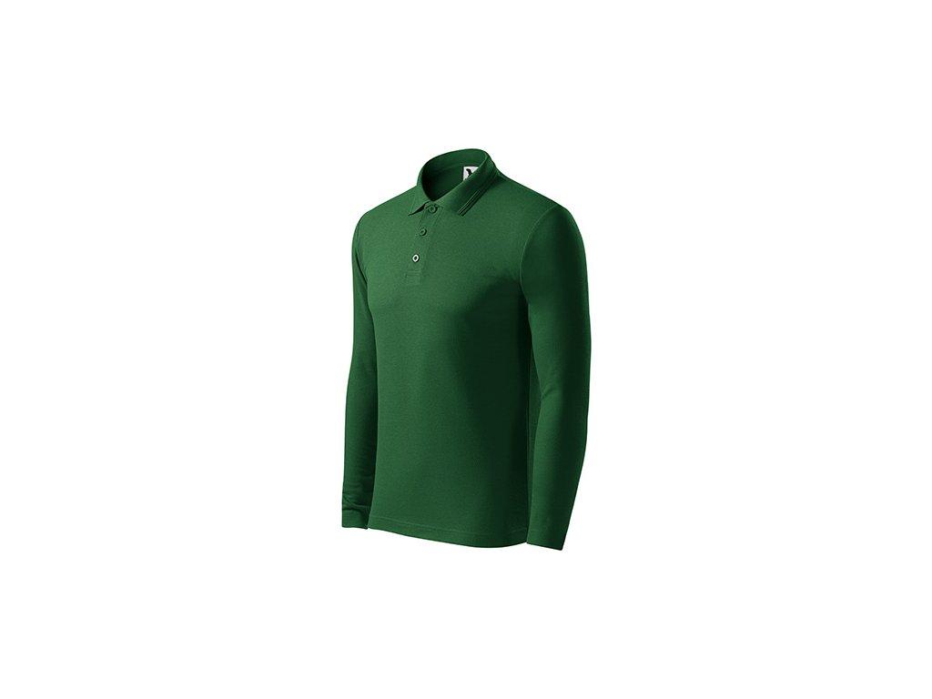 Pique Polo LS polokošile pánská lahvově zelená