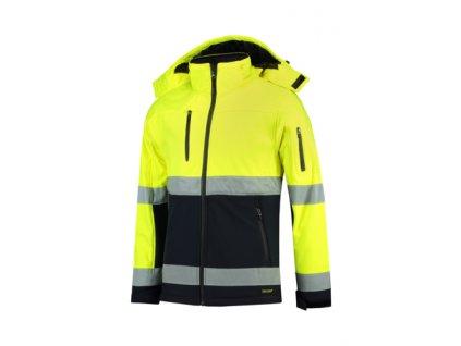 Bi-color EN ISO 20471 Softshell softshellová bunda unisex fluorescenční žlutá