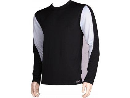 VOXX SOLID 01 pánské tričko dlouhý rukáv černá/šedá