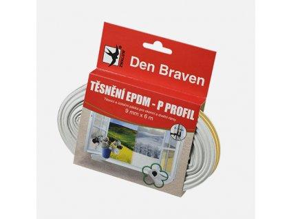 Den Braven - Těsnicí profil z EPDM pryže, P profil, 9 mm x 5,5 mm x 6 m, bílý