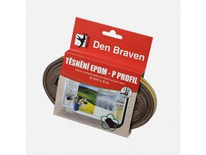 Den Braven - Těsnicí profil z EPDM pryže, P profil, 9 mm x 5,5 mm x 6 m, hnědý